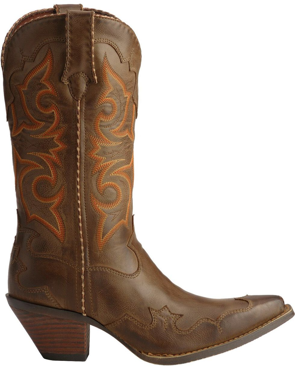 Durango Women's Rock-n-Scroll Western Boots, Saddle Tan, hi-res