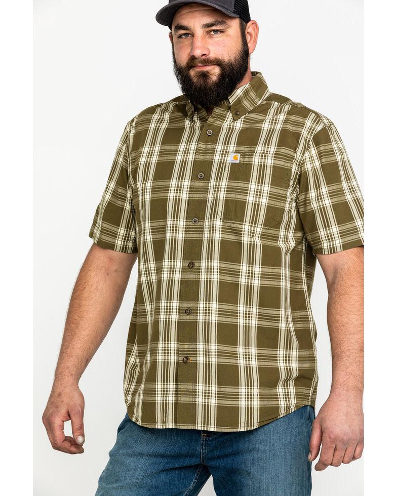 Carhartt Men's Olive Essential Plaid Button Long Sleeve Work Shirt - Big , Olive, hi-res