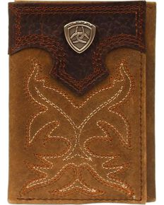 Ariat Boot Stitched Tri-fold Wallet, Med Brown, hi-res