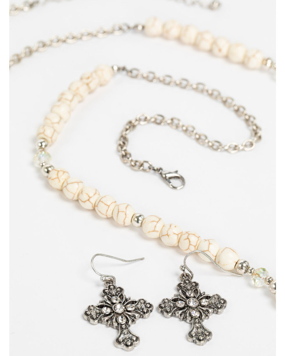 Shyanne Women's White Howlite Cross Charm Tassel Necklace Set, Silver, hi-res