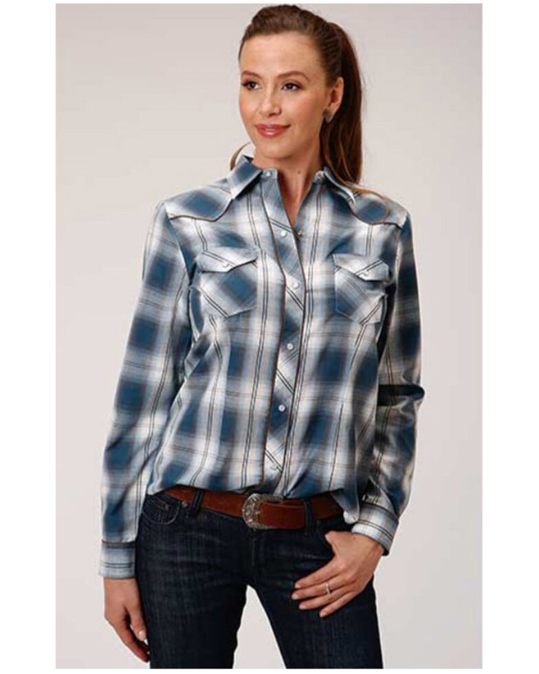 Karman Women's Blue Plaid Embroidered Long Sleeve Western Shirt, Blue, hi-res