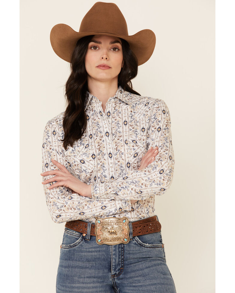 Rough Stock By Panhandle Women's Aztec Paisley Stripe Long Sleeve Snap Western Core Shirt , Ivory, hi-res