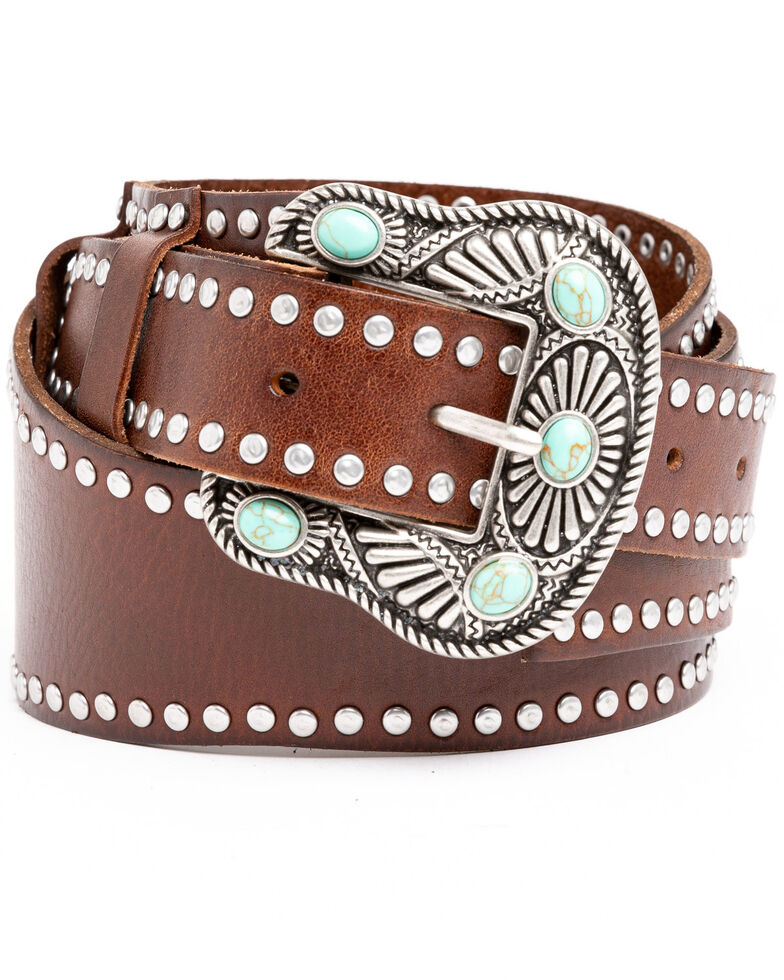 Shyanne Women's Brown Studded Wide Western Belt , Brown, hi-res