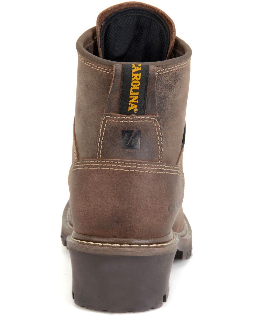 Carolina Men's Waterproof Logger Work Boots - Round Toe, Dark Brown, hi-res