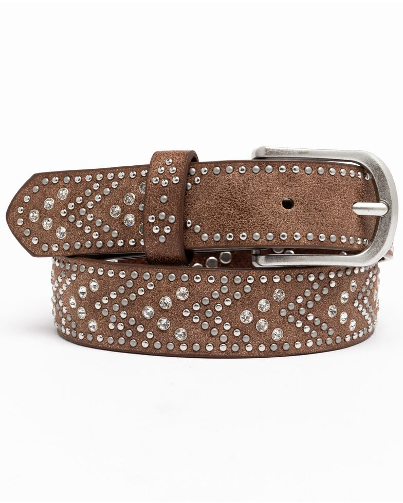 Shyanne Girls' Brown Tempt To Shine Belt, Brown, hi-res