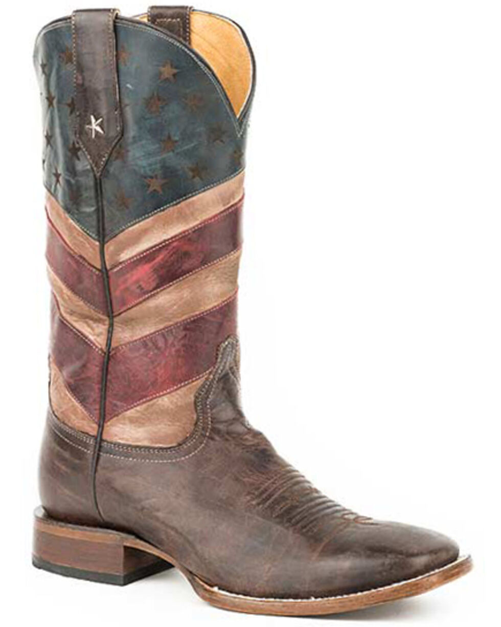 Roper Men's Patriotic Hoss Western Boots - Square Toe, Brown, hi-res