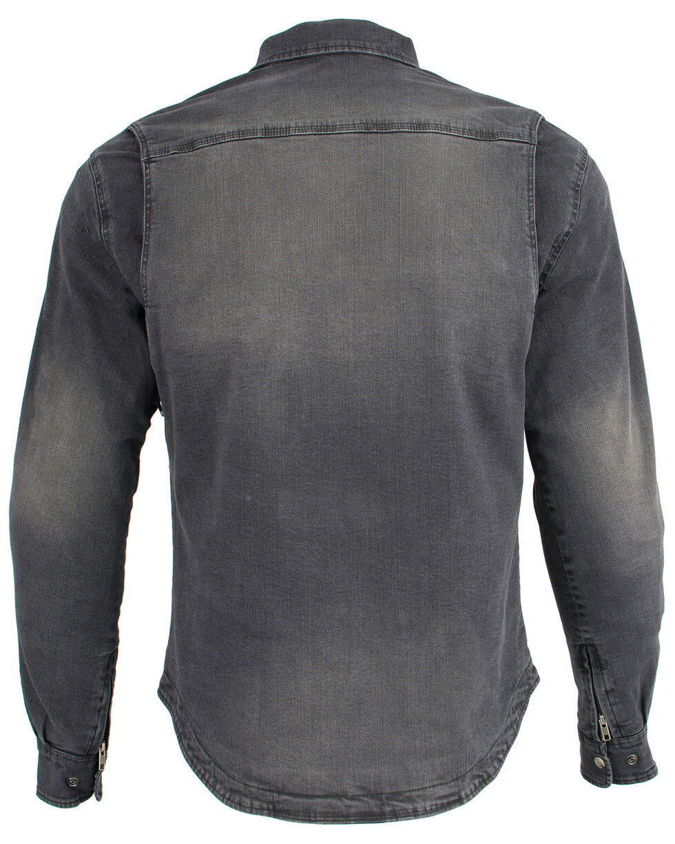 Milwaukee Performance Men's Black Denim Biker Shirt - Big & Tall, Black, hi-res