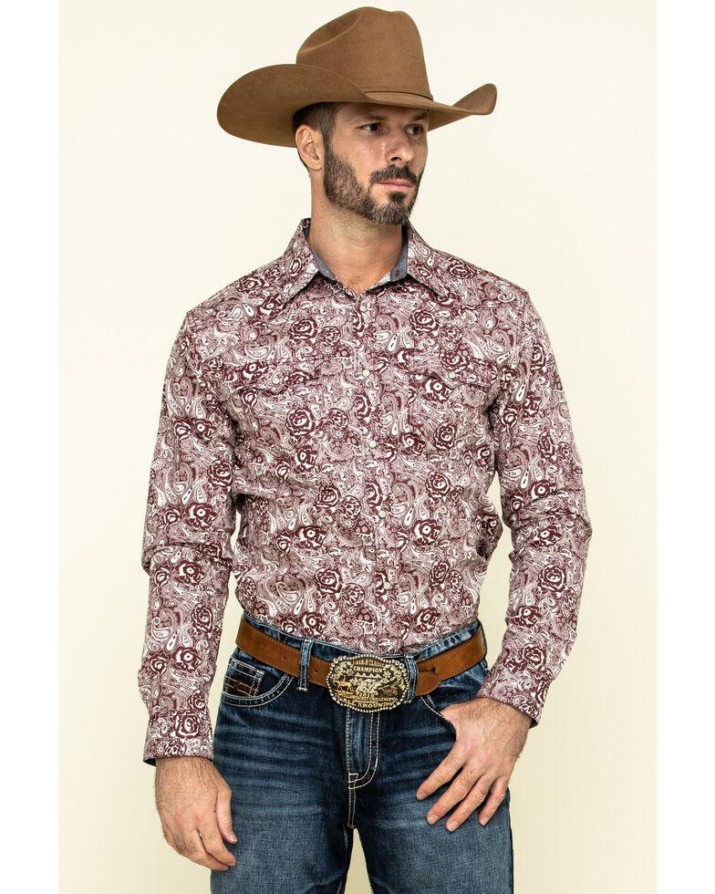 Cody James Men's Amarillo Large Floral Print Long Sleeve Western Shirt - Big , Maroon, hi-res