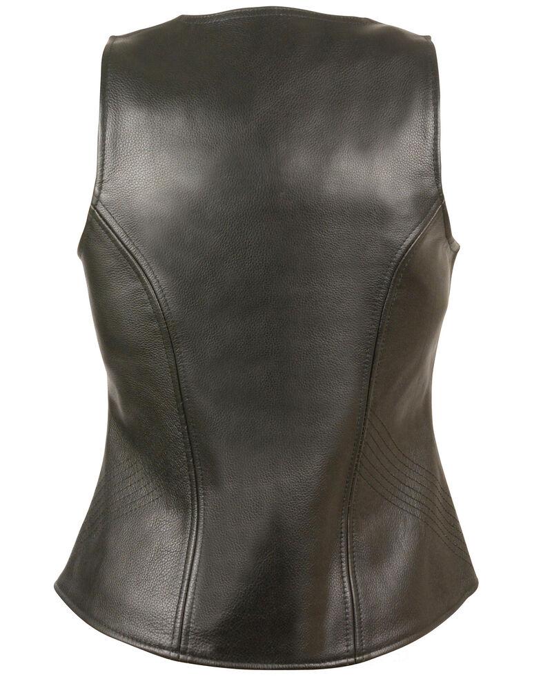 Milwaukee Leather Women's Open Neck Zipper Front Leather Vest, Black, hi-res