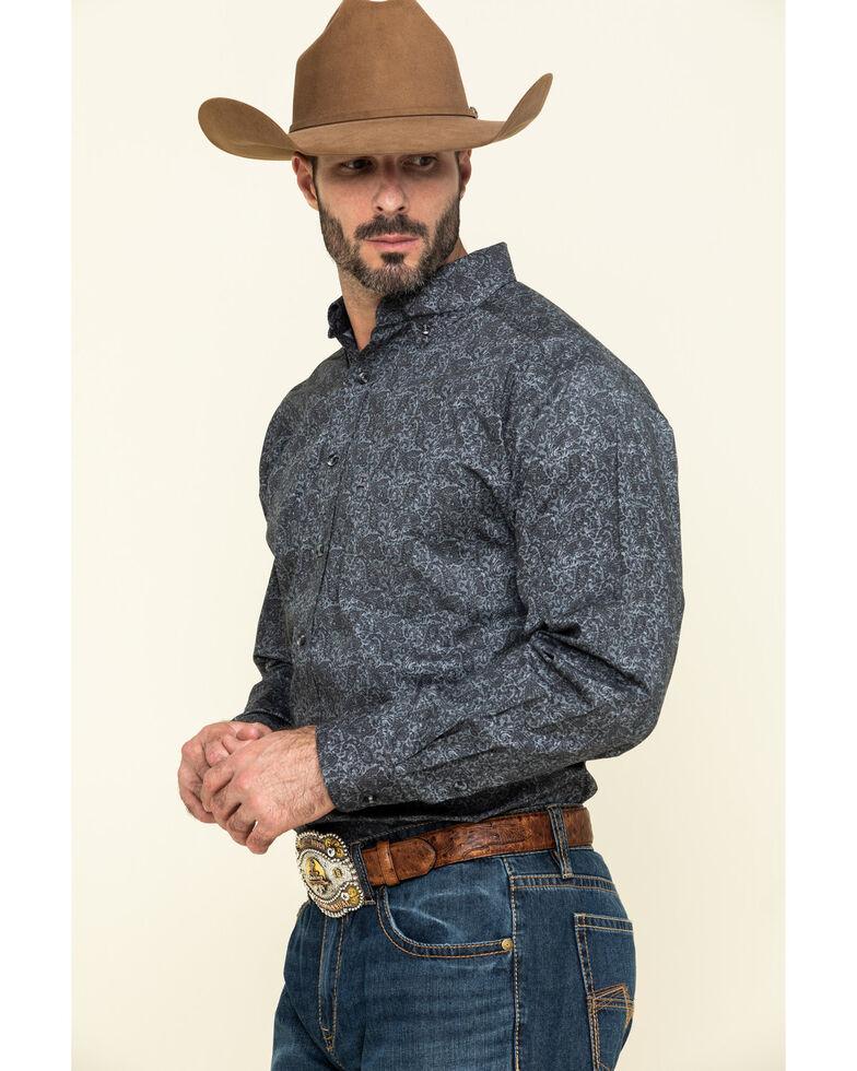 Tuf Cooper Men's Black Stretch Paisley Poplin Print Long Sleeve Western Shirt , Charcoal, hi-res