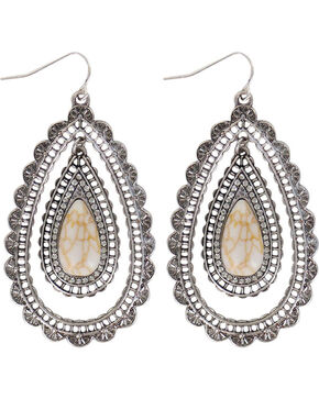 Shyanne® Women's Scallop Teardrop Earrings , Silver, hi-res