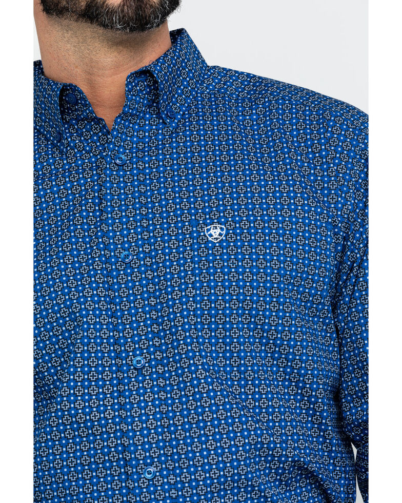 Ariat Men's Bainton Geo Print Long Sleeve Western Shirt - Big , Blue, hi-res