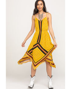 Coco + Jaimeson Women's Yellow Border Print Hanky Dress, Gold, hi-res