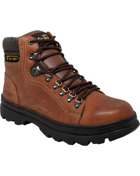 "Ad Tec Men's Crazy Horse Leather 6"" Work Boots, Brown, hi-res"