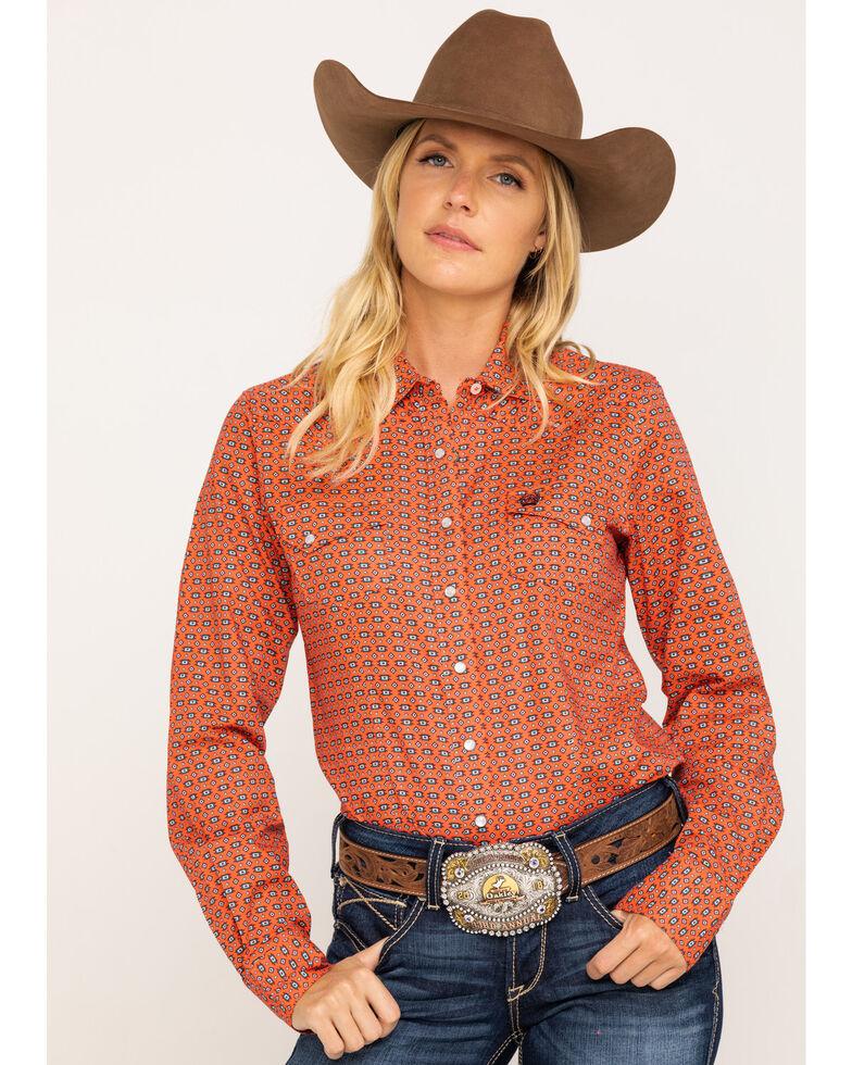 Cinch Women's Coral Geo Print Snap Core Long Sleeve Western Shirt , Coral, hi-res