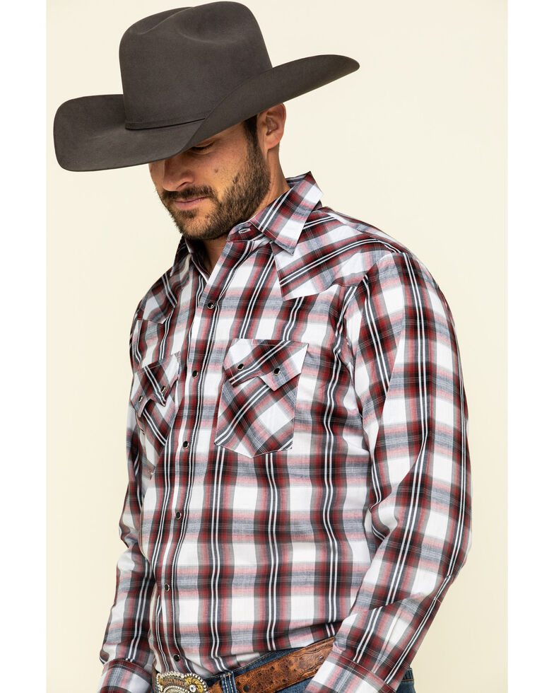 Ely Cattleman Men's Burgundy Large Plaid Long Sleeve Western Shirt , Burgundy, hi-res