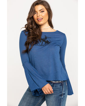 Roper Women's Blue Horse Bell Sleeve Top, Blue, hi-res
