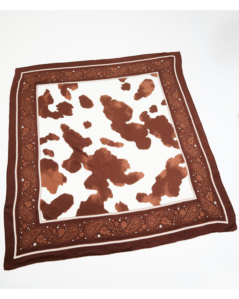 Idyllwind Women's Spotted Cow Bandana, Brown, hi-res