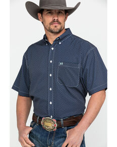 Cinch Men's Navy Geo Print Short Sleeve Western Shirt , Navy, hi-res