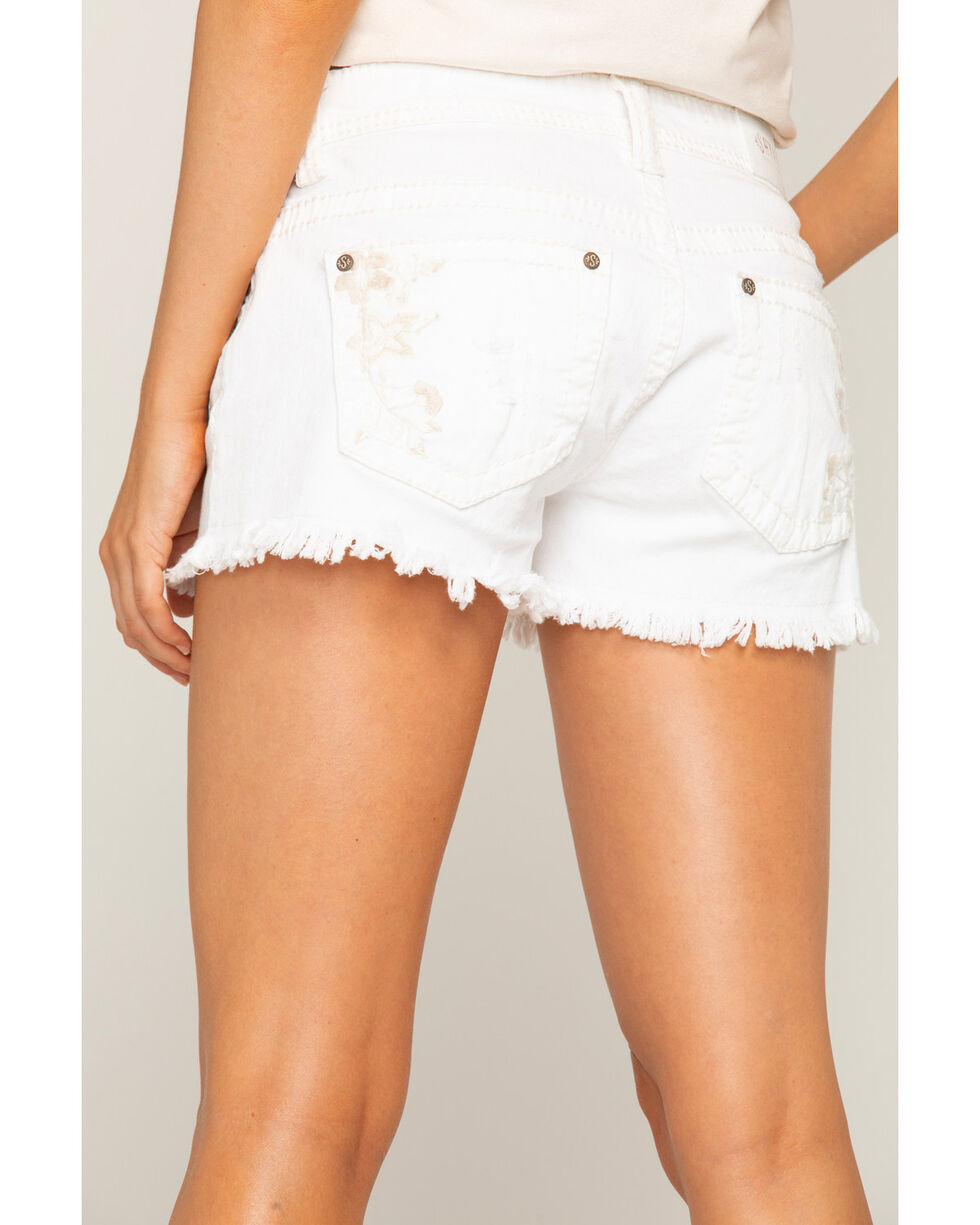 Shyanne Women's White Embroidered Frayed Hem Shorts, White, hi-res