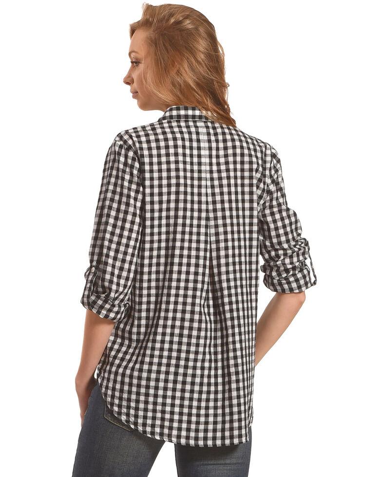 New Direction Sport Women's Gingham Plaid Shirt , Black, hi-res