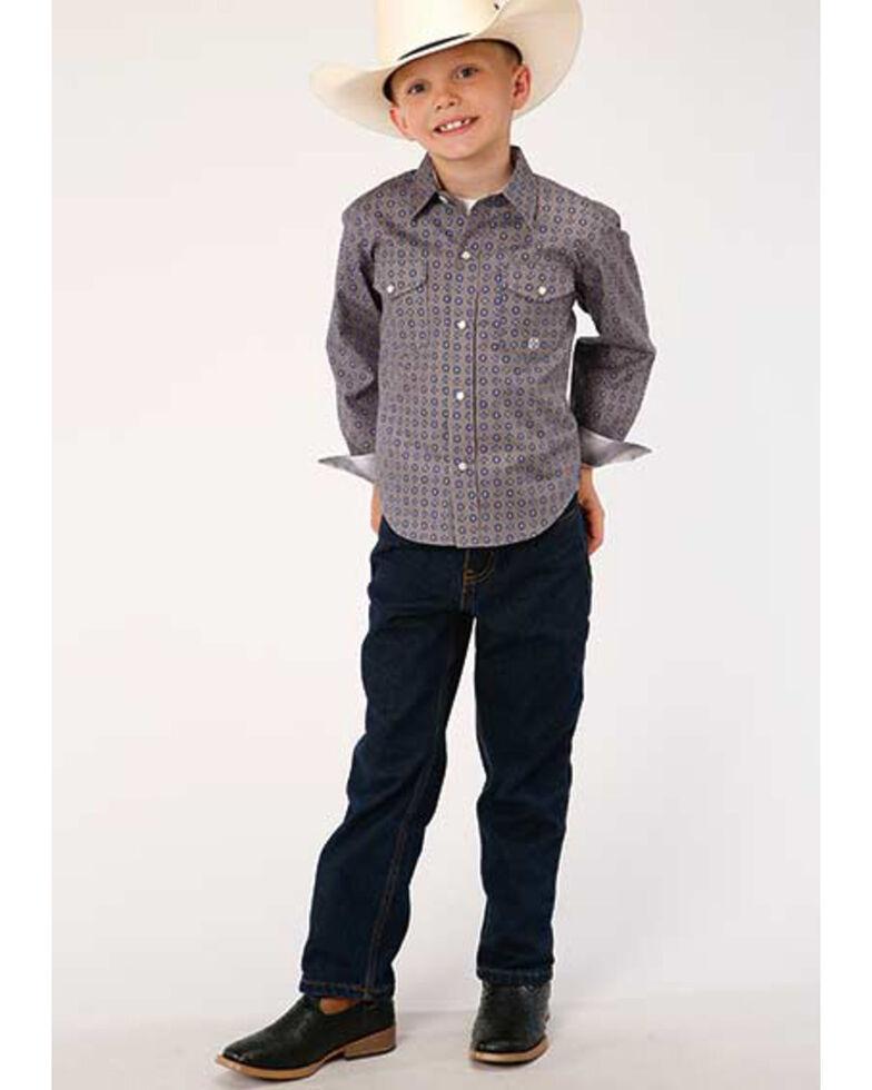 Amarillo Boys' Moonshadow Foulard Geo Print Long Sleeve Western Shirt , Grey, hi-res