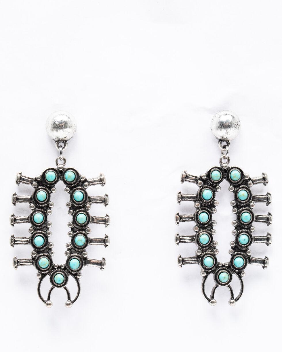 Shyanne Women's Isla Jane 360 Turquoise Squash Blossom Earrings, Turquoise, hi-res