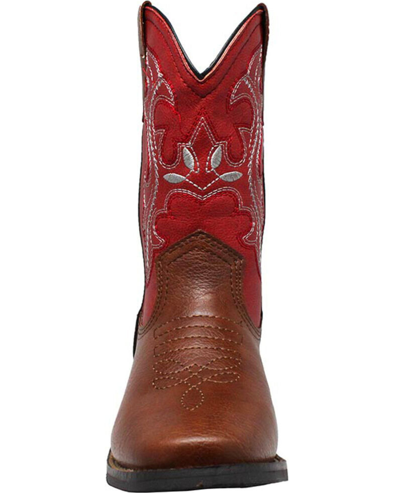 """Ad Tec Children's 8"""" Pull On Western Boots, Brown, hi-res"""