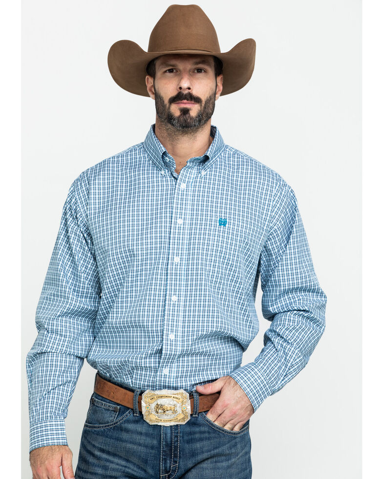 Cinch Men's Tencel White Small Plaid Long Sleeve Western Shirt - Big , White, hi-res