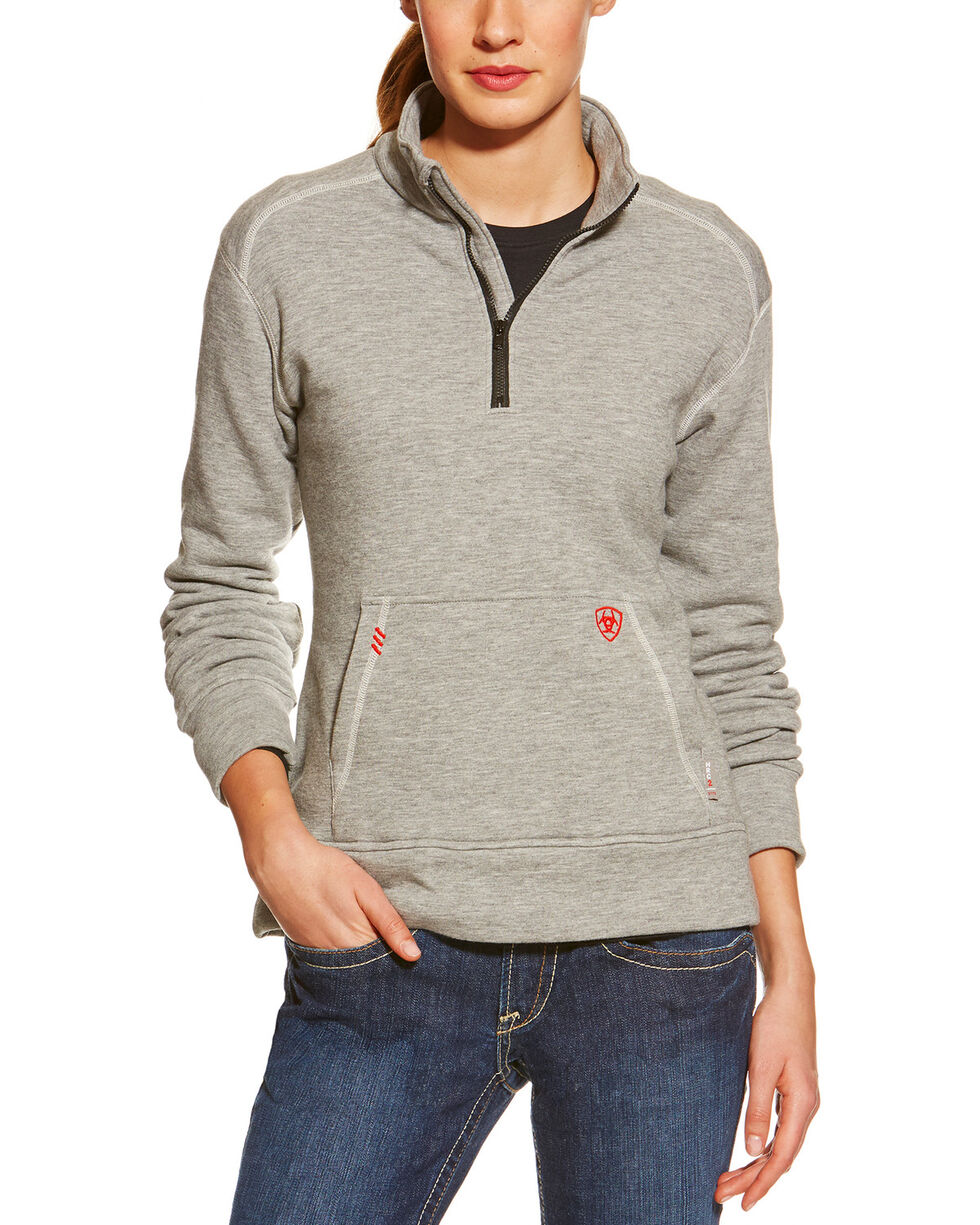 Ariat Flame Resistant Women's Quarter Zip Fleece, Grey, hi-res
