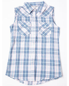 94aee808 Shyanne Girls Plaid Woven Sleeveless Button Down Shirt, Pink, hi-res