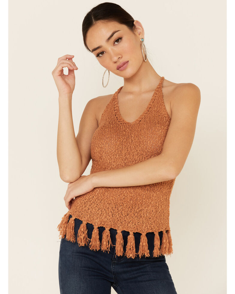 Shyanne Women's Pecan Sweater Knit Fringe Tank Top, Pecan, hi-res
