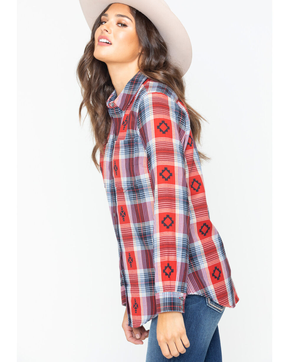Ariat Women's Etna Madder Dobby Plaid Flannel Shirt , Red, hi-res