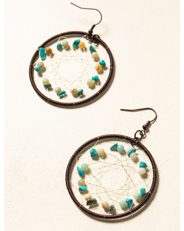 Shyanne Women's WIllow Moon Circular Dreamcatcher Earrings , Rust Copper, hi-res