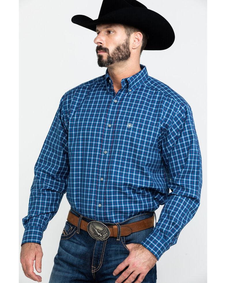 Ariat Men's Dalcin Plaid Long Sleeve Western Shirt , Navy, hi-res