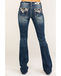 "Miss Me Women's Faux Flap Cowhide 34"" Bootcut Jeans, Blue, hi-res"