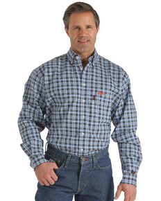 Cinch Men's FR Plaid Long Sleeve Work Shirt, Blue, hi-res