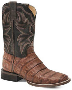 Roper Men's All In Caiman Belly Western Boots - Square Toe, Tan, hi-res