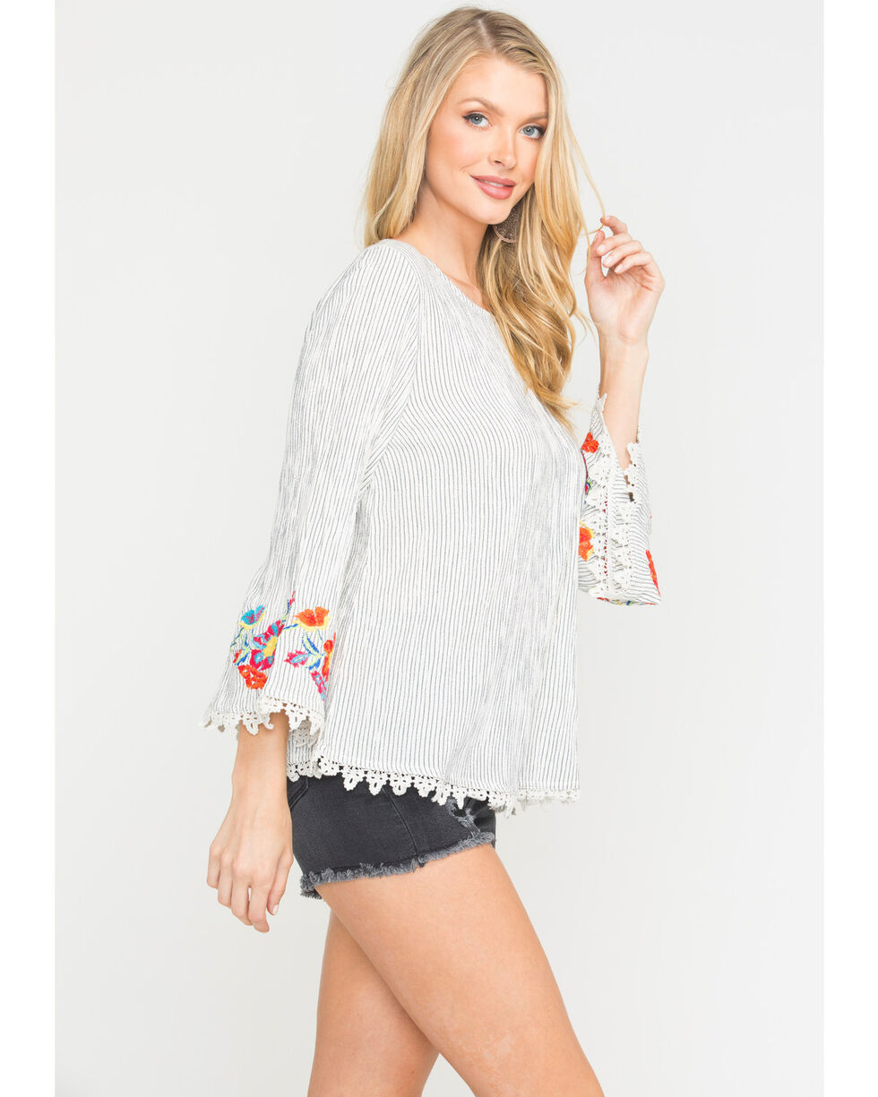 New Direction Sport Women's Embroidered Sleeve Top , White, hi-res