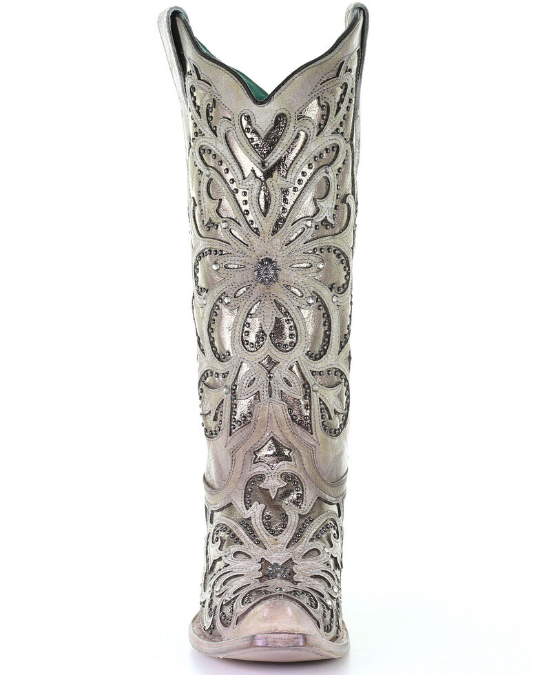 Corral Women's Metallic Inlay Western Boots - Snip Toe, White, hi-res