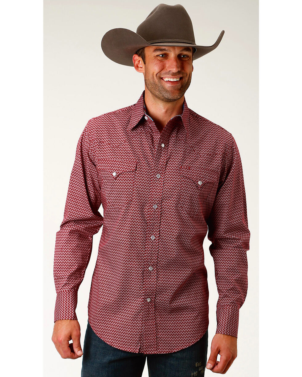 Roper Men's Red Arrow Long Sleeve Western Snap Shirt, Red, hi-res
