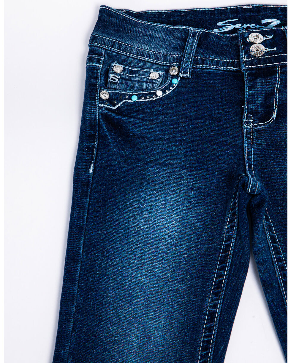 Seven7 Girls' Jersey City Embroidered Flap Pocket Boot Jeans  , Blue, hi-res