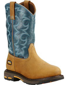 Ariat Women's Blue Workhog H2O Western Work Boots, Aged Bark, hi-res