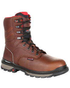 Rocky Men's Rams Horn Waterproof Work Boots - Composite Toe, Dark Brown, hi-res