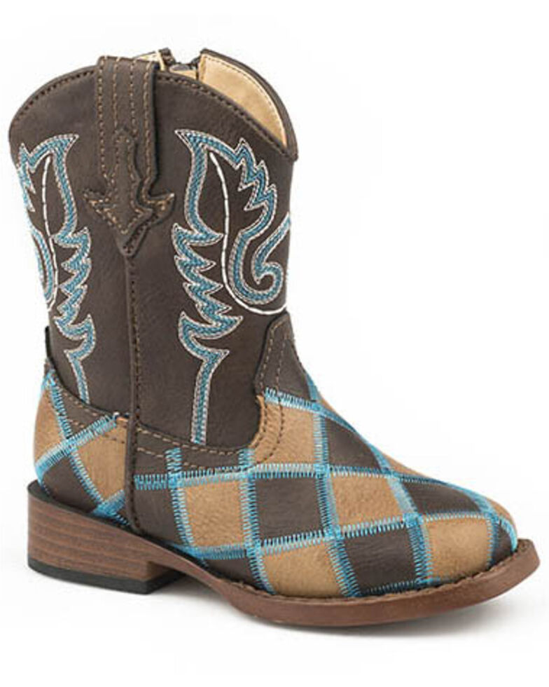 Roper Toddler Girls' Turquoise Stitch Western Boots - Square Toe, Tan, hi-res