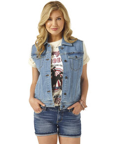 Wrangler Women's Blue Basic Denim Vest, Blue, hi-res