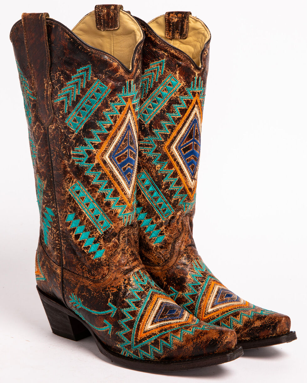 Corral Women's Diamond Snip Toe Western Boots, Cognac, hi-res