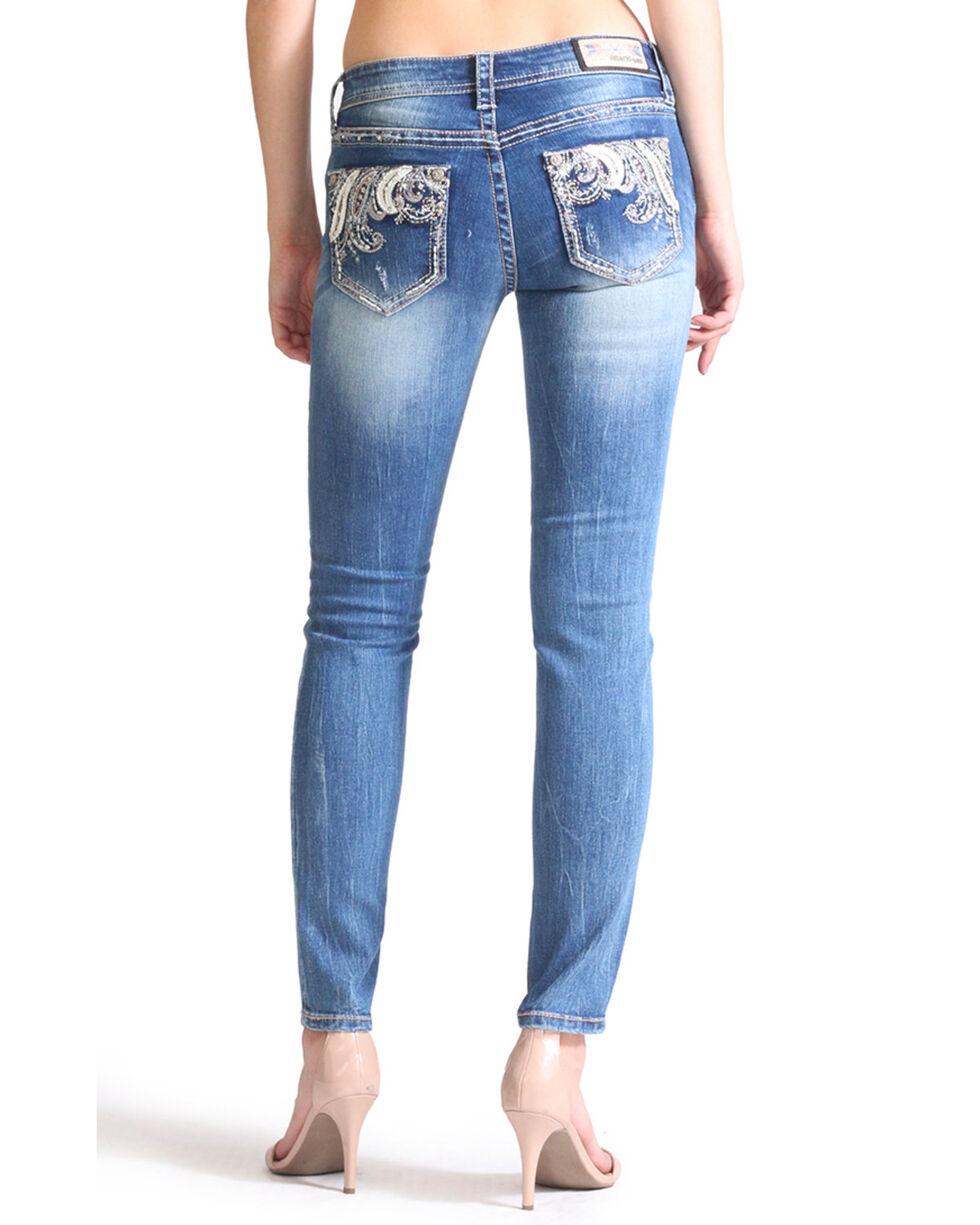 Grace In LA Girls' Paisley Pocket Light Skinny Jeans, Blue, hi-res