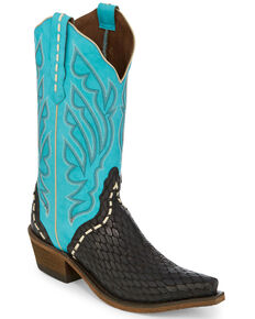 Nocona Women's Chocolate Snake Print Western Boots - Snip Toe, Chocolate, hi-res