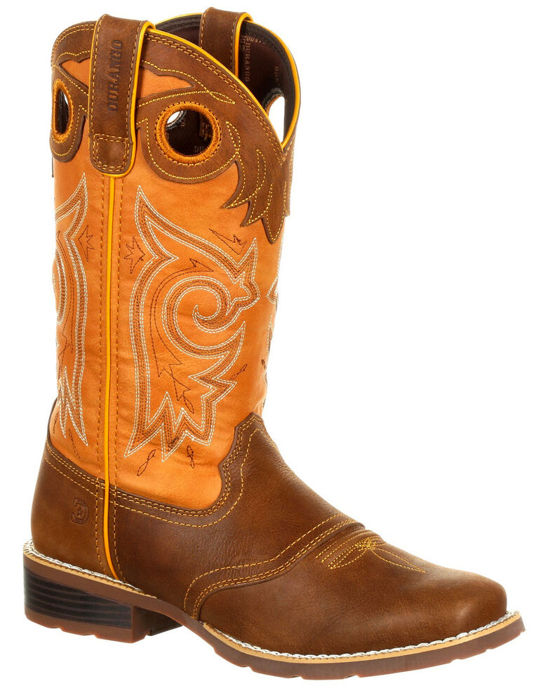 Durango Women's Mustang Western Saddle Boots - Square Toe, Tan, hi-res